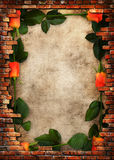 Trame sale de mur de briques avec les roses rouges Image stock