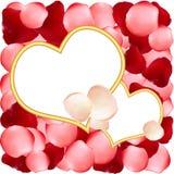 Trames en forme de coeur sur le fond des pétales de rose Images stock