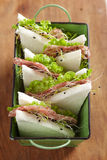 Tramezzini with Salami, lettuce leaves and sprouts Stock Image