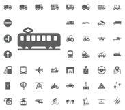Tramikone Gesetzte Ikonen des Transportes und der Logistik Gesetzte Ikonen des Transportes Stockbild