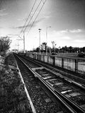 Tramline. Artistic look in black and white. Stock Photography