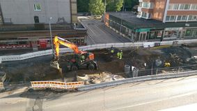 Tramline de Tampere sob a construção Fotografia de Stock