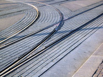 Tramlines. In croatian capital royalty free stock photo