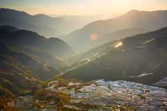 Tramonto ad area scenica del campo a terrazze di Laohuzui Immagine Stock