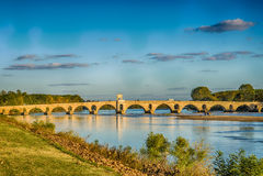 Tramonto a Adrianopoli Meric Bridge Fotografie Stock