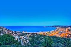 Tramonto aereo dell'orizzonte di Javea Xabia in Alicante Fotografia Stock