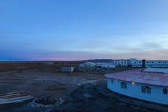 Tramonto agli appartamenti di Solar de Uyuni Salt in Bolivia Fotografia Stock Libera da Diritti
