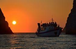 Tramonto ai myzithres, isola Grecia di Zacinto Immagini Stock