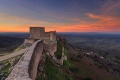 Tramonto al castello Marvao Immagini Stock Libere da Diritti