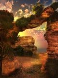 Tramonto al deserto roccioso Fotografia Stock