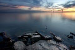 Tramonto al lago di Costanza Fotografia Stock
