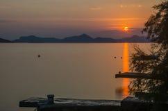 Tramonto al mare adriatico Fotografia Stock