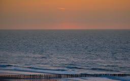 Tramonto al Mare del Nord Fotografie Stock Libere da Diritti