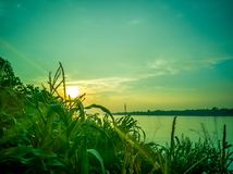 Tramonto al Mekong, Tailandia immagine stock