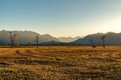 Tramonto al Murnauer Moos immagini stock libere da diritti