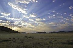 Tramonto al parco di Namib Naukluft Fotografia Stock Libera da Diritti