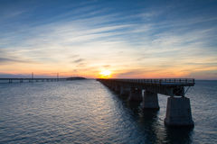 Tramonto al ponte da sette miglia Fotografie Stock