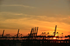 Tramonto al porto Immagine Stock Libera da Diritti