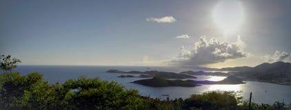 Tramonto al punto di paradiso in Isole Vergini americane immagine stock libera da diritti