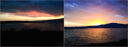 Tramonto, alba, mare, acqua Immagine Stock
