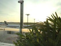 Tramonto all'aeroporto Fotografia Stock Libera da Diritti