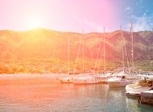 Tramonto all'ancoraggio Fotografie Stock