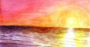 Tramonto all'oceano in acquerello Immagini Stock