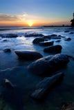 Tramonto alla punta del Borneo, Sabah, Malesia Fotografie Stock Libere da Diritti