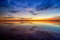 Tramonto alla spiaggia del huahin Fotografia Stock