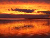 Tramonto alla spiaggia del inverloch fotografia stock libera da diritti