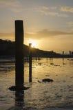 Tramonto alla spiaggia del polzeath, Cornovaglia, Regno Unito Fotografia Stock