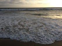 Tramonto alla spiaggia della Santa Monica Fotografia Stock