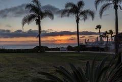Tramonto alla spiaggia di Coronado con le palme di silohette e il golde rosso Fotografie Stock Libere da Diritti