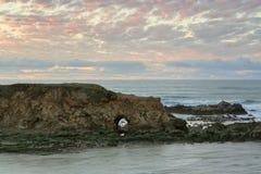 Tramonto alla spiaggia di stato di Pescadero Fotografia Stock