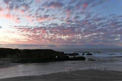 Tramonto alla spiaggia di stato di Pescadero Fotografie Stock Libere da Diritti