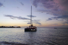 Tramonto alla spiaggia Giamaica di Negril Fotografie Stock Libere da Diritti
