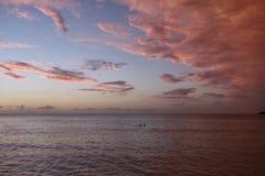 Tramonto alla spiaggia Giamaica di Negril Fotografia Stock