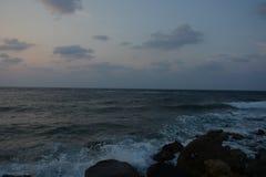 Tramonto alla spiaggia Jedda del Mar Rosso Immagini Stock Libere da Diritti