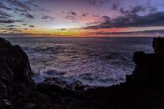 Tramonto alla spiaggia, La Palma, Spagna Fotografie Stock