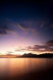 Tramonto alla spiaggia Lobo, Batangas, Filippine Fotografia Stock