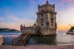 Tramonto alla torre di Belem, Lisbona Immagini Stock Libere da Diritti