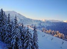 Tramonto in alpi Fotografia Stock Libera da Diritti
