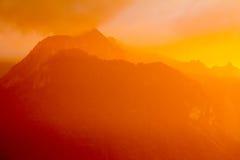 Tramonto in alpi svizzere Fotografie Stock Libere da Diritti