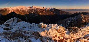 Tramonto in alta montagna - Tatras Immagini Stock