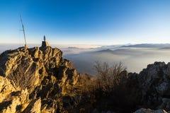 Tramonto alto su nelle alpi Fotografia Stock