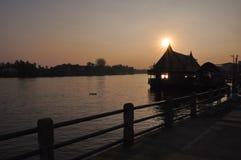 Tramonto a Amphawa, Samut Songkhram, Tailandia Fotografie Stock Libere da Diritti