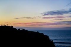 Tramonto arancio alla spiaggia Fotografie Stock Libere da Diritti