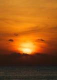 Tramonto arancio dell'oceano Immagine Stock Libera da Diritti