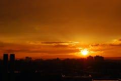 Tramonto arancione Fotografia Stock
