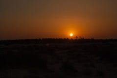 Tramonto arancione scuro nel deserto Immagini Stock Libere da Diritti